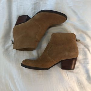 Tan suede heeled booties